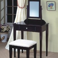 Amazon.com: Frenchi Furniture Wood 3 Pc Vanity Set in Espresso Finish: Home &amp; Kitchen