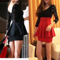 Women&#x27;s Lace Long Sleeve Crew Neck Sexy Clubwear Mini Dress Black Red S M L Y