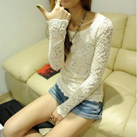 New Slim Long Sleeve Laciness Lace T-Shirt: tidestore.com
