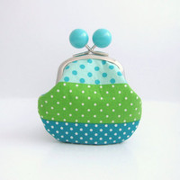 Light Blue Bead Coin Purse - blue polka dots