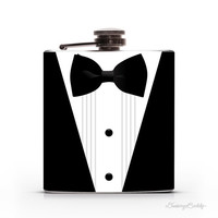 James Bond 007 - Black Tuxedo and Bowtie - Perfect Groomsmen/ Wedding Gift - 6oz Whiskey Vodka Gin Hip Flask