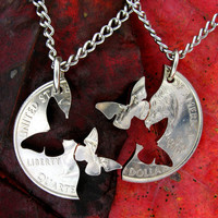 Interlocking Quarter Matching Butterflies Necklaces