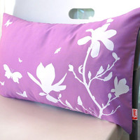 Limited Time Sale Lavender Purple Magnolia and Butterfies Rectangle Pillow