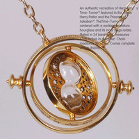 TIME TURNER Harry Potter NECKLACE Hermione Granger 18k Yellow plated