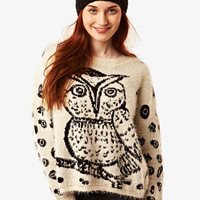 Cream Owl Fluffy Jumper at Fashion Union