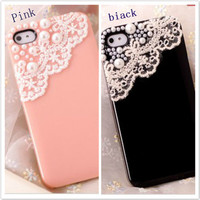iphone4/4S pearl lace shell  SKJ0001 from lovely girls
