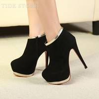Fashion Platform Stiletto Heels Closed Toe Ankle Women's Boots: tidestore.com