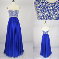 Strapless Sweetheart Beading Chiffon Prom Dress Bridesmaid Dress, Party Dress, Evening Dress, Wedding Party Dress