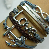 Bracelet  Antique Silver anchor bracelet LOVE bracelet by case2012
