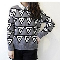 Triangle collision color abstract geometric prints thicker sweaterD14 from Fashion Accessories Store