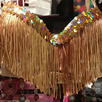 34C Gold Fringe/ Rhinestone/Beaded Rave/Costume/Dance/Gogo Bra FREE US Shipping