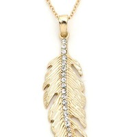 Gold Feather Pendant with crystals