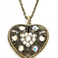 Antiqued-Inspired Gold Heart Necklace