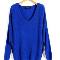 Blue loose Knit Sweaters with Batwing Sleeves