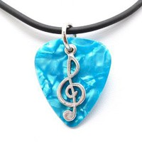 Amazon.com: Guitar Pick Necklace with Music Clef Note Charm on Blue Guitar Pick Unique Design By Atlantic Seaboard Trading Co.: Musical Instruments