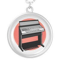 Electric Organ Peach Background Custom Necklace from Zazzle.com