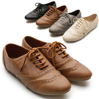 New Womens Shoes Classics Lace Ups Dress Oxfords Low Flats Heels Multi Colored