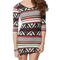 Papaya Clothing Online :: FAIR ISLE PATTERN BODYCON DRESS