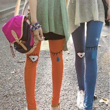 Funny cartoon pattern solid color stretch Slim Leggings from Fashion Accessories Store