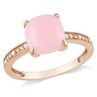 10k Rose Gold Pink Opal and Diamond Ring, (0.03 cttw, G-H Color, I1-I2 Clarity)