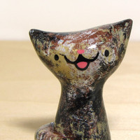 Tortie Kitteh Cat Handmade Figurine by magicbeanbuyer on Etsy