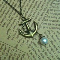 Antique bronze anchor charm necklace with pearl by Victorianstudio