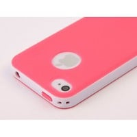 TOOGOO Dexule Rose Red White Fashion Sweety Girls TPU , PC 2-Piece Style Hard Case Cover for iPhone 4 4S with Screen Protector