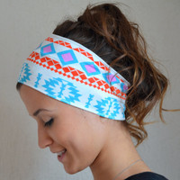 aztec tribal jersey headband - aztec tribal stretchy cotton jersey headband yoga headband ear warmer birthday gift christmas gift