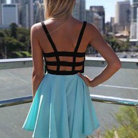 Blue and Black Mini Dress with Cage Back&Lace Front Detail