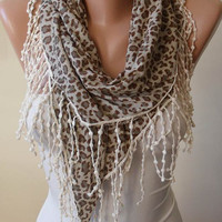 New - Trendy - Leopard Combed Cotton - Light Brown-Gray Scarf with Beige Trim Edge