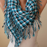 Turquoise Scarf - Houndstooth Scarf - Thick Cotton Fabric - Triangular