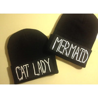 mermaid  or cat lady beanie
