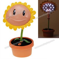 Hot 17 LED USB Rechargeable Sunflower and Flowerpot Shape Foldable Sunflower Lamp China Wholesale - Everbuying.com