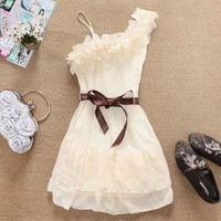 Stylish and Delicate Sweety Ruffles One-shouldered Chiffon Dress China Wholesale