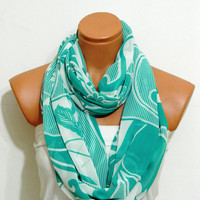 loop Scarf,Infinity Scarf,Mint Loop Scarf,Circle Scarf,.Ultra soft..Cowl...Nomad Tube..flowers scarf