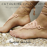 Peach Barefoot sandals handmade 100% cotton great for beach wedding summer slave sandals foot jewelry resort wear Catherine Cole BF-4