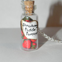 Strawberry Fields Forever Inspired by the Beatles Bottle Necklace