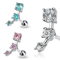 316L Surgical Steel Triple CZ Droplet Tragus/Cartilage Piercing Stud