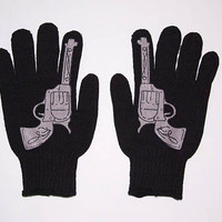 Rockabilly Western Gothic Goth Punk Revolver Pistol Gun Mens Black Work Gloves