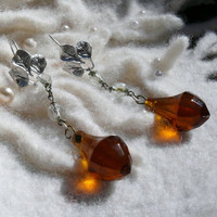 Vintage Holiday Amber Chandelier Crystal Earrings, Artisan Upcycled OOAK