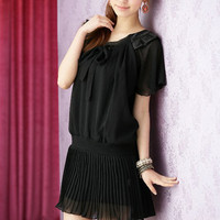 Dainty Short Sleeve Pleated Black Mini Womens Dresses : Yoco-fashion.com