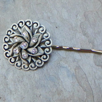Vintage Ivory Black Japanese Celluloid Bobby Pin, A Swirling Pinwheel Grey (1)