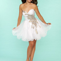 Ivory & Gold Bead Embellished Chiffon Strapless Short Homecoming Dress - Unique Vintage - Cocktail, Pinup, Holiday & Prom Dresses.