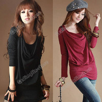 Womens Long Sleeve Autumn Cotton Blend Bottoming Long Crew Neck Tops T-Shirt New