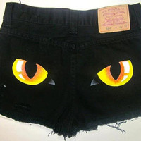 Cat Eye High Waisted Cut-Off Jean Shorts