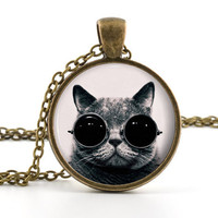 Steampunk Cat Pendant - Cat Necklace - Photo Jewelry - Vintage Cool Cat Art - Glass Picture Jewellery - Gift Bag Included