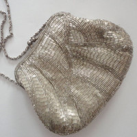 Silver Beaded Vintage Handbag with Chain Cord, LaRegale