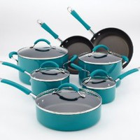 Amazon.com: KitchenAid Aluminum Nonstick 12-Piece Cookware Set, Peacock: Kitchen &amp; Dining