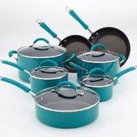 KitchenAid Aluminum Nonstick 12-Piece Cookware Set, Peacock