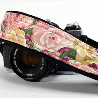 Rose&#x27;s dSLR Camera Strap, Pink and Gold Roses, Vintage